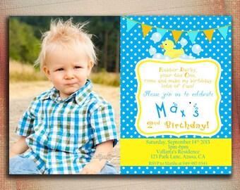 Rubber Duck Birthday Invitation, Rubber Ducky Birthday Invitation, Rubber Duck Boy Birthday Invitation, Baby Shower-DIY