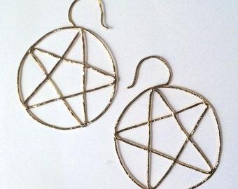 Gold Pentacle Hoop Earrings