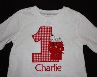 Personalized Snoopy Christmas Birthday Onesie or Tshirt