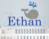 Children Wall Decal Baby Whale with Personalized Name Vinyl Decal