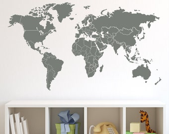 World map wall decal with countries borders world map with countries borders wall decal sciox Choice Image