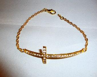 Gold Tone Rhinestone Cross Bracelet