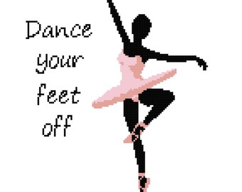 Dance Your Feet Off in Pink Wall Art Cross Stitch Pattern