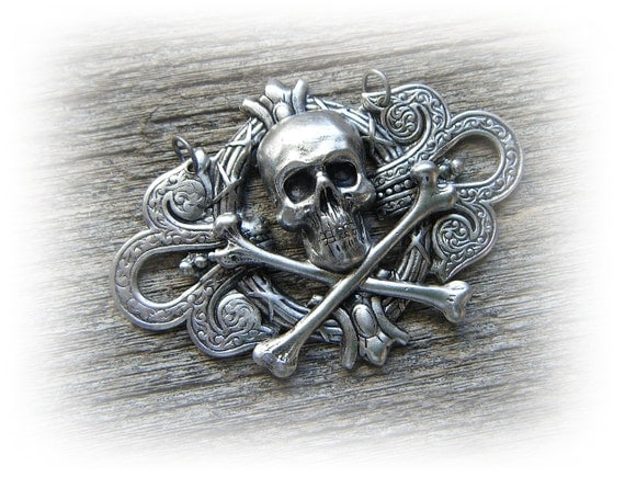 Gothic Skull and Bones Pendant - UNIQUE DESIGNS In STEAMPUNK Industrial Jewelry by AbneyPark