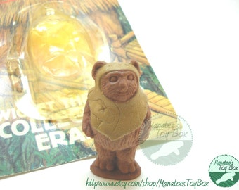 Vintage Star Wars Wicket Ewok Eraser with Original Card