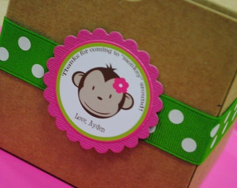 Personalized Lime Green and Pink Mod Monkey Large Favor Tags Birthday Shower Personalized Favor