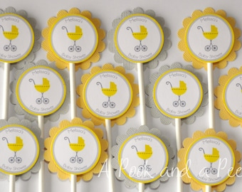 Yellow and Gray Baby Carriage Shower Cupcake Toppers Personalized Cupcake picks