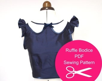 Fitted Top - Sewing Pattern - Instant PDF Download - Womens Ruffle Collared 1930s Bodice