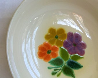 Vintage Franciscan Serving Bowl Floral pattern -  9.5 in, Earthenware, Glazed, Green Orange Yellow Purple Flowers, Mid Century Rustic Modern