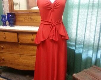 Vintage 1970's Red Halter Disco Dancing Dress