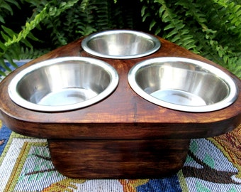 Items similar to Raised rustic cat or dog feeder, western ...