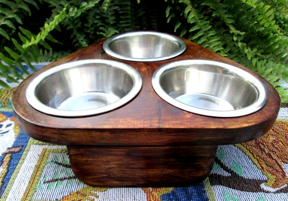 3 Bowl Feeder For Pets And Pet Loverscustom By Woodytoolworks