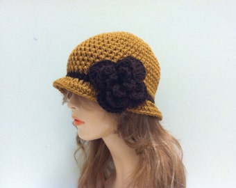 SALE Crochet Cloche Flapper Hat - HONEY/BROWN
