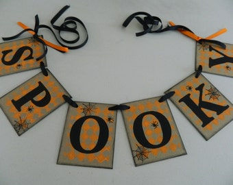 Spooky Halloween Banner/ Halloween/Halloween Party Decor/ Spooky Sign/ Vintage Inspired Halloween Decorations/ Photo Prop/ Halloween Garland