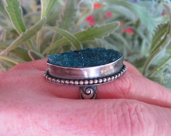 Sterling silver and teal druzy sparkler ring