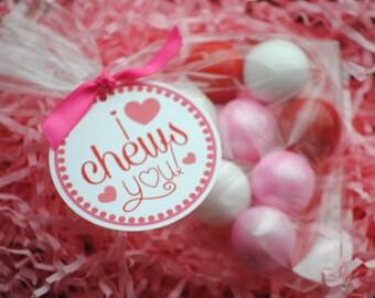 PRINTABLE -I Chews You Valentine Favor Tags