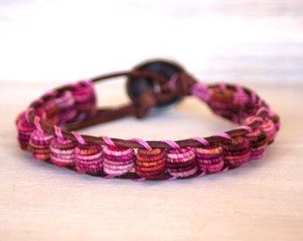 Boho Leather Bracelet - Fabric Textile Beads - CRANBERRY - Bohemian Boho Chic - Rustic Leather Bracelet - Unique Bracelet - Fashion Jewelry