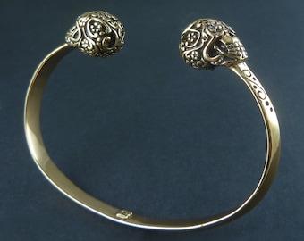 Day of the Dead Skull Cuff Bracelet - Bronze Day of the Dead Skull Bracelet