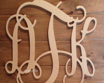 SALE: 2 -18 Inch Connected Wood Vine Script Monogram Letters - Perfect for hanging on a wall or added to a wreath.