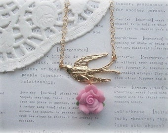 Gold Swallow Necklace with Pink Rose