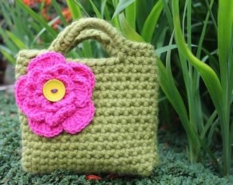 Little Girl Little Fuschia flower Purse in Meadow green