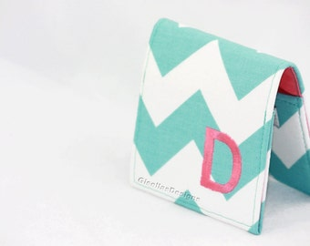 "Personalized Square Business card holder, teal business card holder, 2"" x 2"", 2.25"" x 2.25"", 2.5"" x 2.5""or 3""x3"""