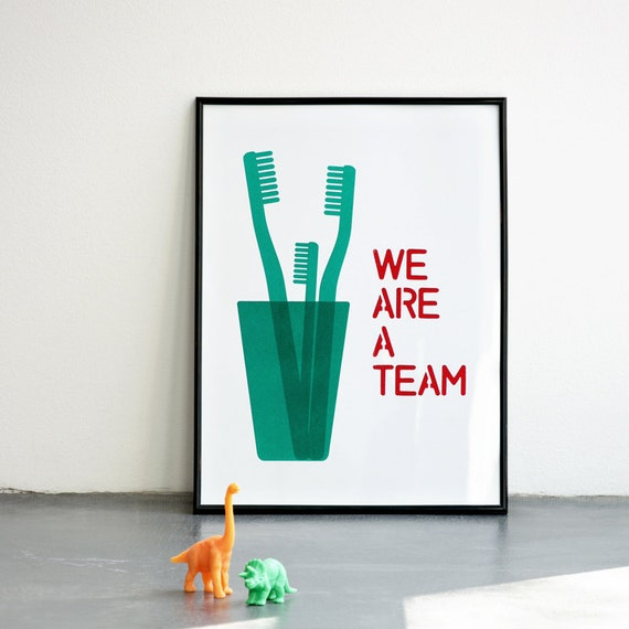 We are a team, Mother's day, Father's day, Emerald, Teal Digital Print, 11.7 x 15.7 in, 8.3 x 11.7 in