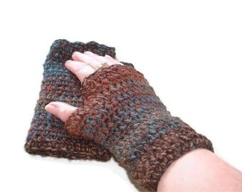 Fingerless Mittens, Gloves Crocheted in Browns & Teals. Original Design for Women and Mens Fashion Accessories, Wristwarmers. Gift.