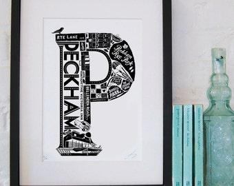 Best of Peckham - London print - London poster - London Art - Typographic Print - London illustration - letter art - South London poster