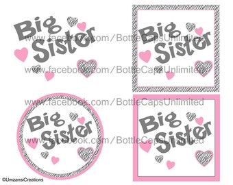 "DIY Printable ""Zebra Big Sister"" Shrinkable Digital Images (JPEG File)"