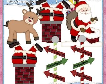 Roof Top Santa Clipart (Digital Download)