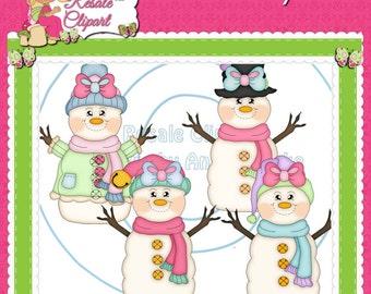 Snowman Girls Fun 1 Clipart (Digital Download)
