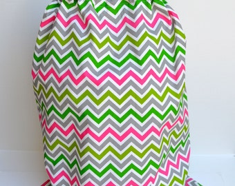 Large Chevron Pink and Green  Laundry Bag Tote College Dorm Summer Camp  Duffle Bag with Shoulder Strap Monogrammed