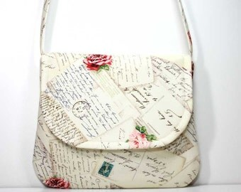 Small Foldover Crossbody Bag Small Shoulder Purse Sling Bag Hobo Bag Cross Body Bag - French Post Cream - Michael Miller Fabric