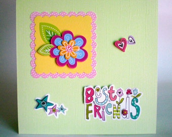 Handmade Friendship Card, best friend, BFF keepsake card