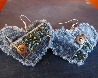 Earrings - Heart Shaped Recycled Joe's Jeans Denim - Hand Beaded - Upcycled - St. Patrick's Day Perfect
