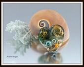 Ocean Sea Theme Lampwork Heart. U.K Handmade SRA