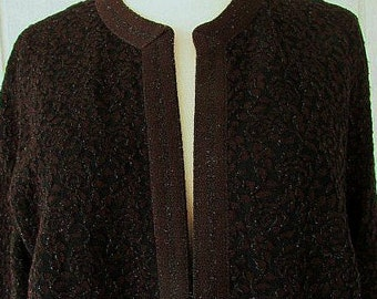 vintage 60s kimberly brown black jacquard open front  jacket b40 metallic sparkle mad men