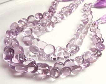 "4"" half strand PINK AMETHYST smooth gem stone onion briolette beads 4mm - 8mm"