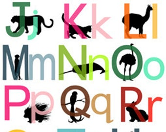 Peeking Animals - EXTRA LARGE 8x11 Printable ABC Playtime Cards - No Overlapping Letters with Black Silhouettes