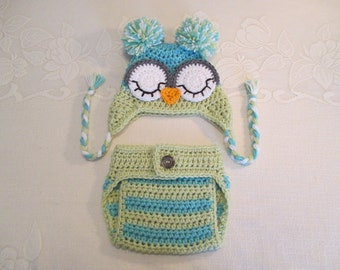 Aqua and Fern Green Crocheted Owl Hat and Diaper Cover - Photo Prop - Available in Newborn to 24 Months Size - Any Color Combination