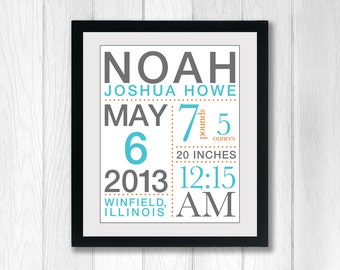 Baby Birth Announcement Poster with Baby's Stats: You choose colors - 11x14 inches wall art, nursery art, nursery typography