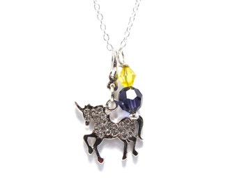 Delta Phi Epsilon Unicorn Necklace - Sorority Jewelry - Mythical Fantasy Creature - Purple and Gold - DPhiE - Big Little Gift