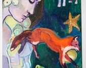 "Fairy Tale Painting, Original Acrylic on Canvas, 24"" x 18"" fox, woman, children, butterfly, pears"