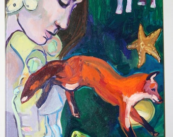 "Fairytale Painting, Original Acrylic on Canvas, 24"" x 18"" fox, woman, children, butterfly, pears"