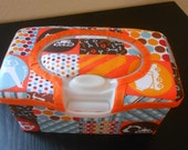 Baby Wipes Nursery Container Construction Vehicle Fabric With Orange Trim
