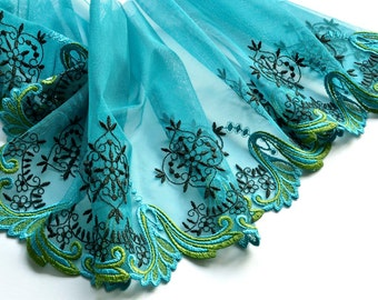 Teal Embroidered Lace Trim, Green, Aqua Lace Trim, Brides Maids, Prom Dress, Costume, Dolls