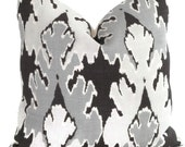 Kelly Wearstler Graphite Ikat Pillow Cover Square, Euro or Lumbar Pillow, Lee Jofa Bengal Bazaar, Throw Pillow, Accent Pillow