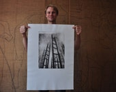 First print - large etching - photo etching - ladders - black & white - portrait format