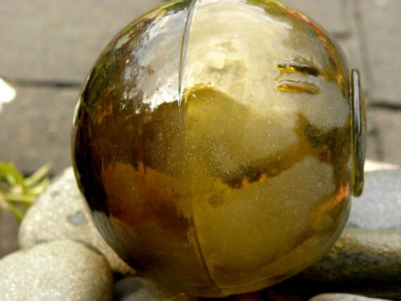 Antique amber glass fishing float from Alaska 3-piece by ...